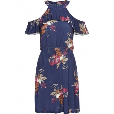 Cold-Shoulder-Kleid mit floralem Print ohne Ärmel  in blau für Damen von bonprix