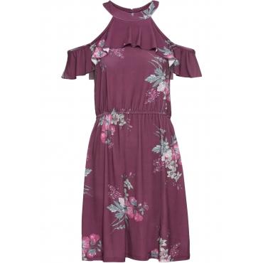 Cold-Shoulder-Kleid mit floralem Print ohne Ärmel  in lila für Damen von bonprix