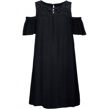 Cold-Shoulder-Kleid mit Spitze kurzer Arm  in schwarz für Damen von bonprix