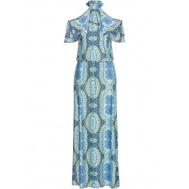 Cold-Shoulder-Kleid ohne Ärmel  in blau für Damen von bonprix