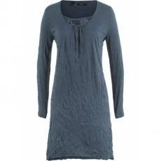 Crinkle-Kleid, Langarm in blau von bonprix