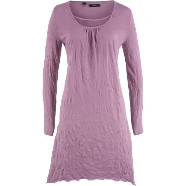 Crinkle-Kleid, Langarm in lila von bonprix