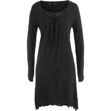 Crinkle-Kleid, Langarm in schwarz von bonprix