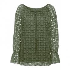 Doppellagiges Blusenshirt mit Ausbrenner-Effekt langarm  in grün für Damen von bonprix