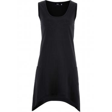 Baumwoll Flammgarn-Jerseykleid ohne Ärmel  in schwarz für Damen von bonprix