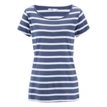 Flammgarn-Shirt, Halbarm in blau für Damen von bonprix