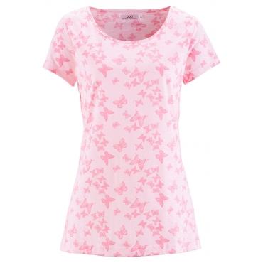 Flammgarn-Shirt, Halbarm in rosa für Damen von bonprix