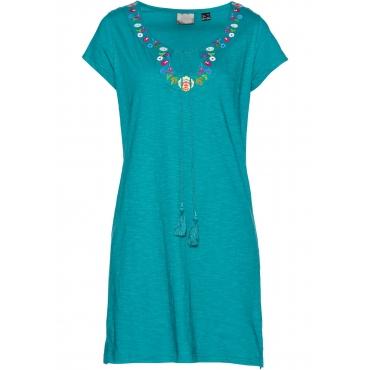 Flammgarn-Shirtkleid kurzer Arm  in blau für Damen von bonprix