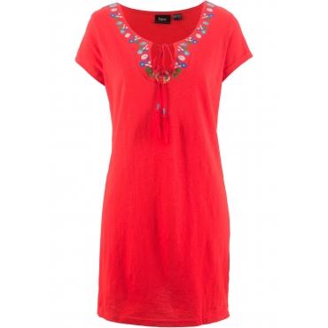 Flammgarn-Shirtkleid kurzer Arm  in rot von bonprix