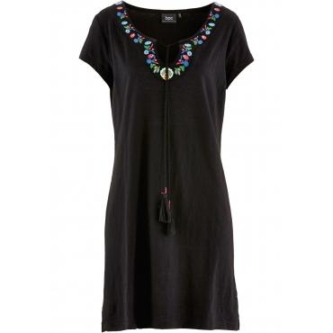 Flammgarn-Shirtkleid kurzer Arm  in schwarz von bonprix
