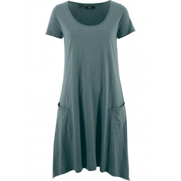 Flammgarn-Shirtkleid mit Kurzarm in grün von bonprix