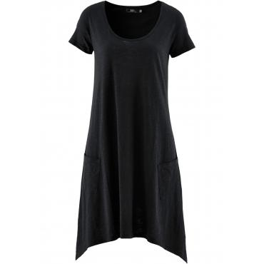 Flammgarn-Shirtkleid mit Kurzarm in schwarz  von bonprix