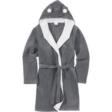 Fleece Bademantel langarm  in grau für Damen von bonprix