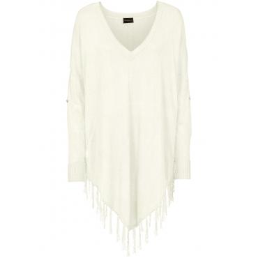 Fransen-Poncho 3/4 Arm  in weiß für Damen von bonprix