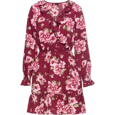 Geblümtes Kleid langarm  in lila für Damen von bonprix