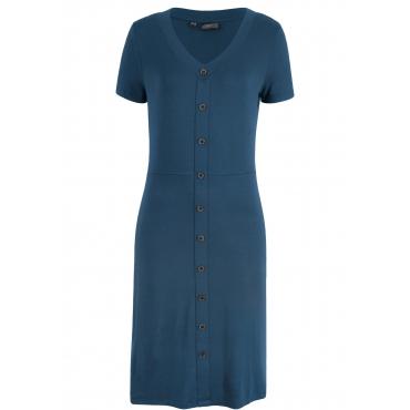 Geblümtes Kleid mit dekorativer Knopfleiste kurzer Arm  in blau  von bonprix