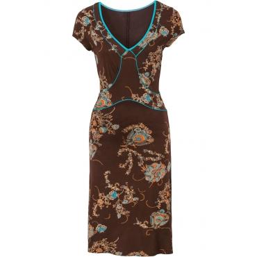Gemustertes Kleid kurzer Arm  in braun von bonprix