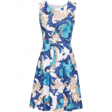 Gemustertes Kleid ohne Ärmel  in blau für Damen von bonprix