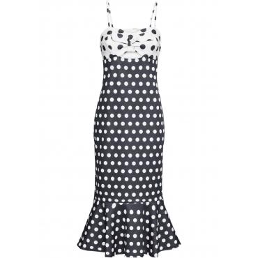Gepunktetes Kleid ohne Ärmel  in schwarz  von bonprix