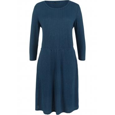 Geripptes Kleid mit 3/4-Arm und Rundhals-Ausschnitt in blau von bonprix