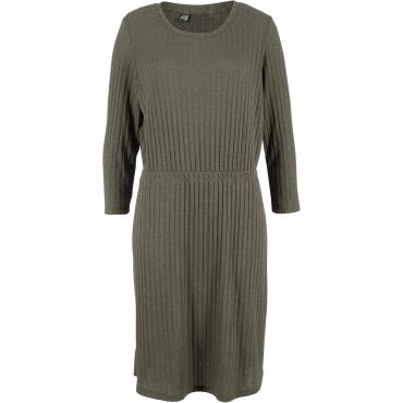 Geripptes Kleid mit 3/4-Arm und Rundhals-Ausschnitt in grün von bonprix