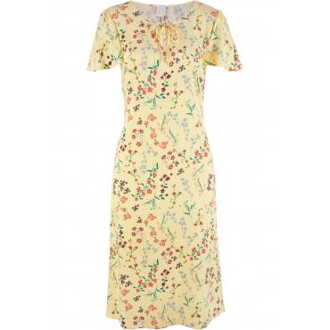 Gewebtes Midi-Kleid mit Volant-Ärmeln kurzer Arm  in gelb von bonprix