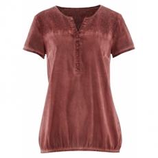 Halbarm-Cold-dyed-Bluse mit Spitze in rot von bonprix