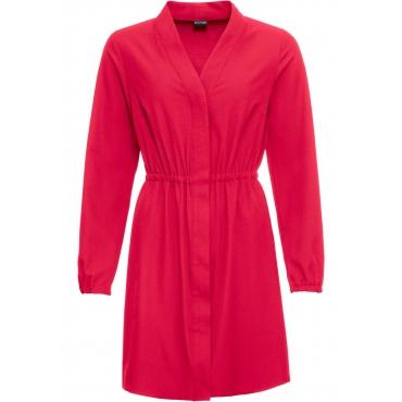 Hemdblusen-Kleid langarm  in rot von bonprix