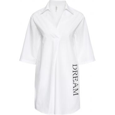 Hemdblusenkleid mit Druck 3/4 Arm  in weiß von bonprix