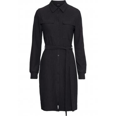 Hemdblusenkleid mit Gürtel langarm  in schwarz für Damen von bonprix