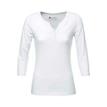 Henley-Kragen-Shirt 3/4-Arm in weiß für Damen von bonprix