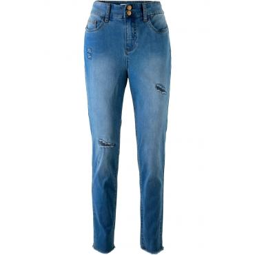 High-Waist-Jeans mit Destroyed-Effekt – designt von Maite Kelly in blau für Damen von bonprix