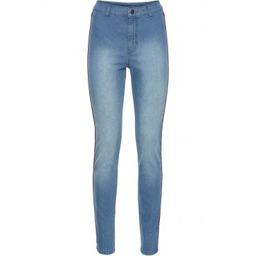 Highwaist-Skinny mit Kontraststreifen in blau für Damen von bonprix