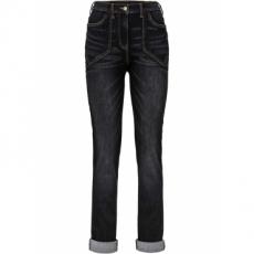 Hoch geschnittene Stretch-Jeans in schwarz für Damen von bonprix