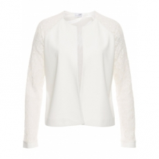 Jacke mit Spitzenärmeln langarm  in weiß für Damen von bonprix