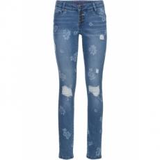 Jeans mit Blumenprint in blau für Damen von bonprix
