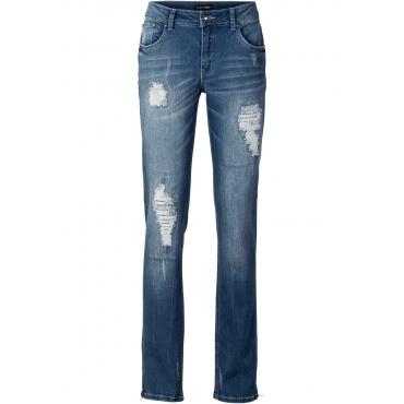 Jeans mit Reißverschlüssen in blau für Damen von bonprix