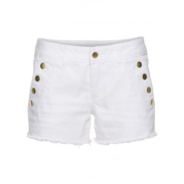 Jeans-Shorts mit Knöpfen in weiß für Damen von bonprix