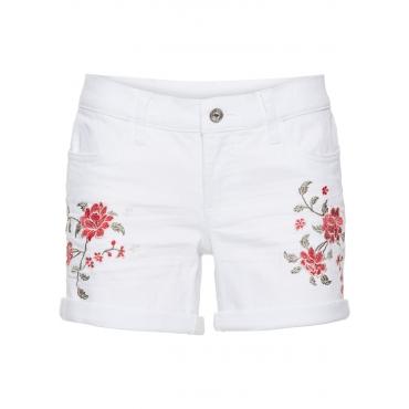 Jeans-Shorts mit Stickerei in weiß für Damen von bonprix