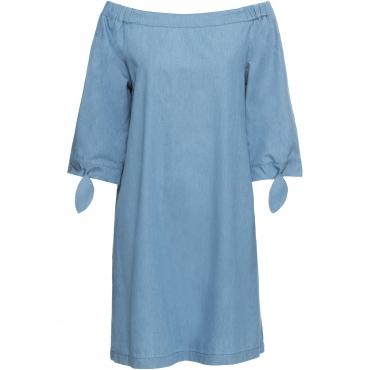 Jeanskleid 3/4 Arm  in blau (Carmen-Ausschnitt) für Damen von bonprix