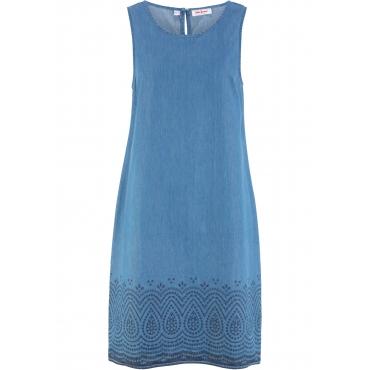 Jeanskleid, bedruckt ohne Ärmel  in blau von bonprix