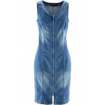 Jeanskleid mit Reißverschluss ohne Ärmel  in blau für Damen von bonprix