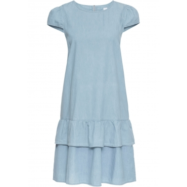Jeanskleid mit Volant kurzer Arm  in blau für Damen von bonprix