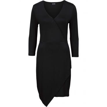 Jersey Kleid in Wickeloptik 3/4 Arm  in schwarz von bonprix