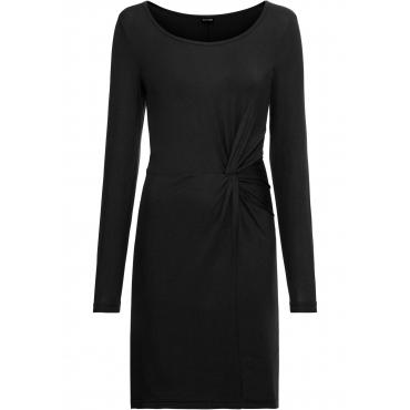 Jersey-Kleid, Knotenoptik langarm  in schwarz von bonprix