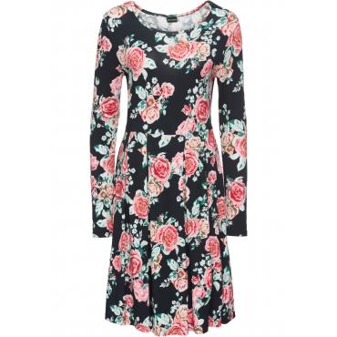 Jersey-Kleid langarm  in schwarz von bonprix