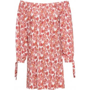 Jersey Kleid langarm  in weiß von bonprix