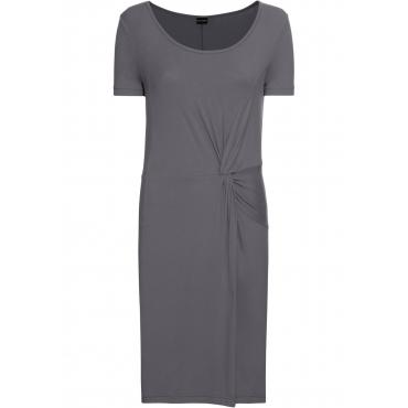 Jersey-Kleid mit Knotendetail kurzer Arm  in grau von bonprix
