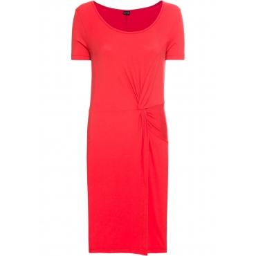 Jersey-Kleid mit Knotendetail kurzer Arm  in rot von bonprix