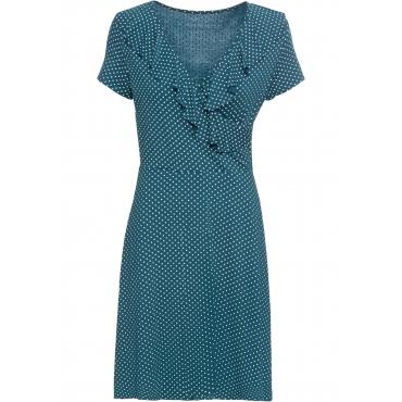 Jersey-Kleid mit Punkten und Volant kurzer Arm  in petrol von bonprix